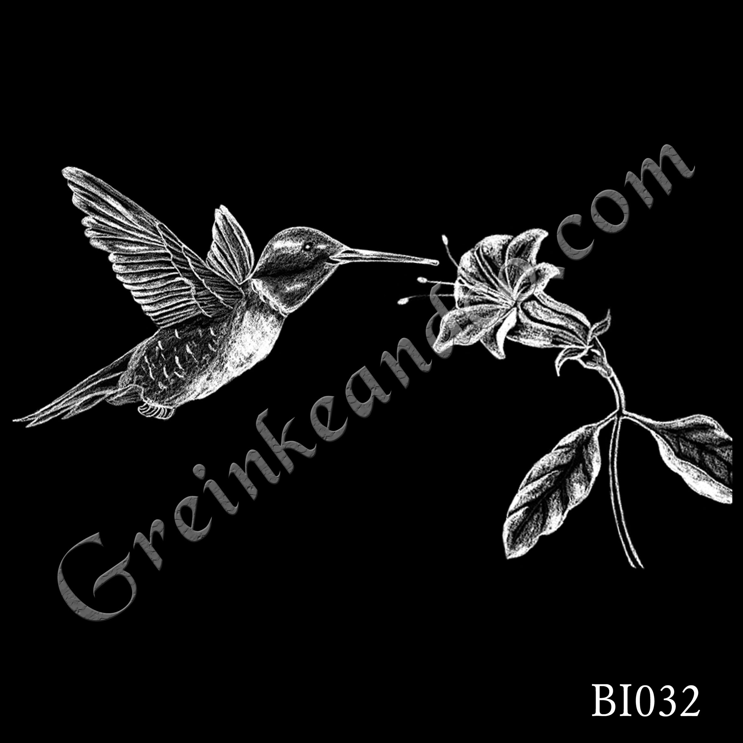 BI032 - Hummingbird & Flower