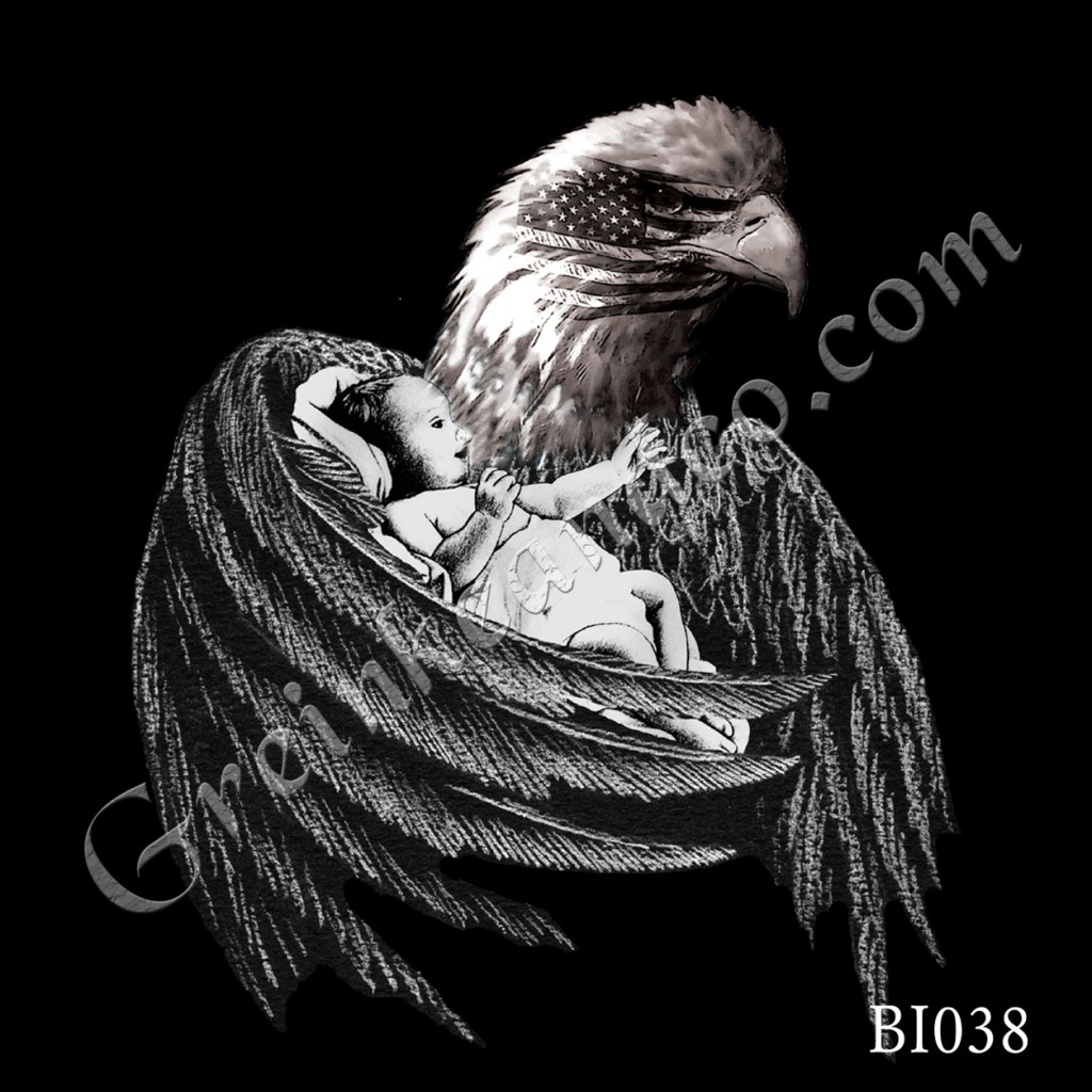 Eagle with Baby and Flag