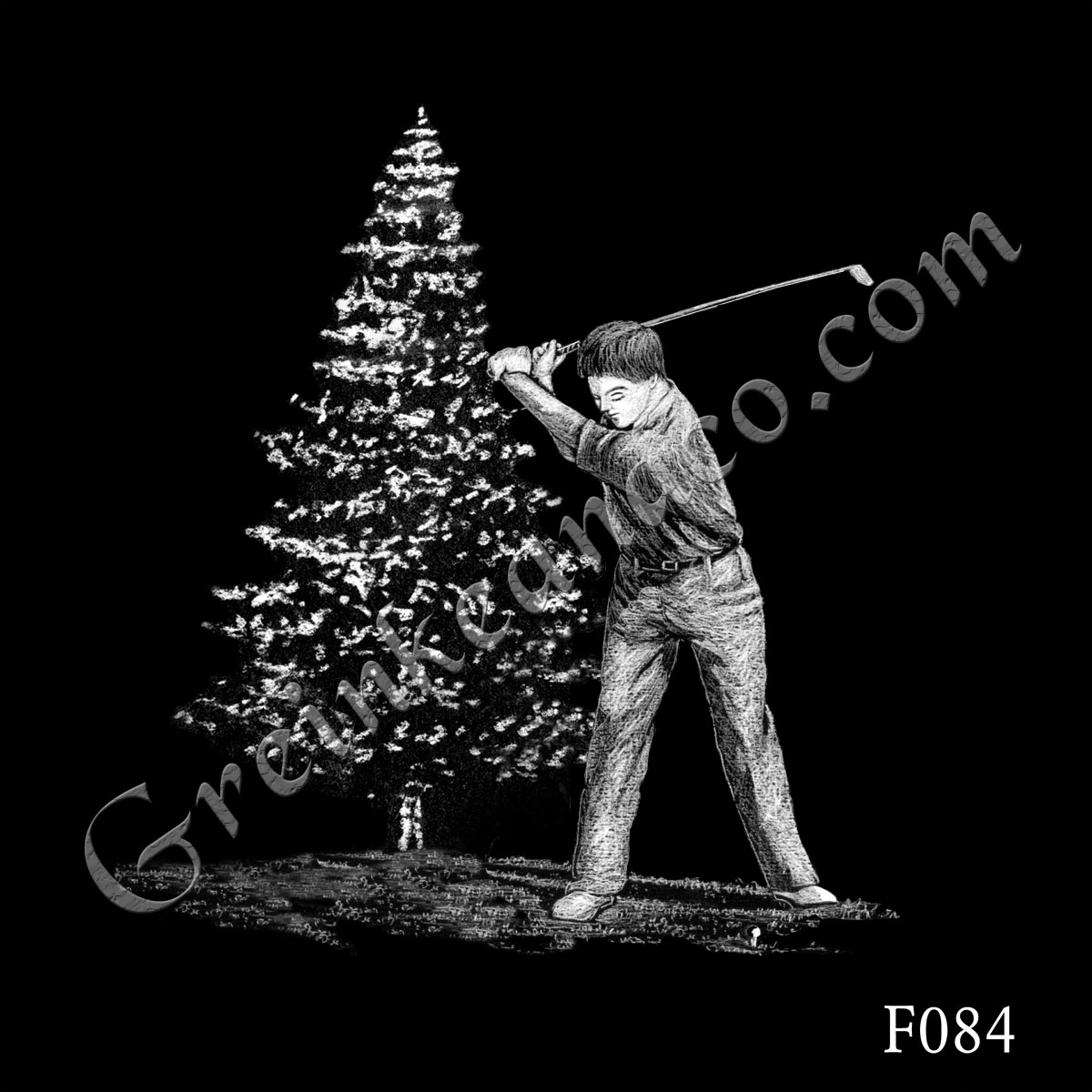 F084 - Golfer and Pine Tree