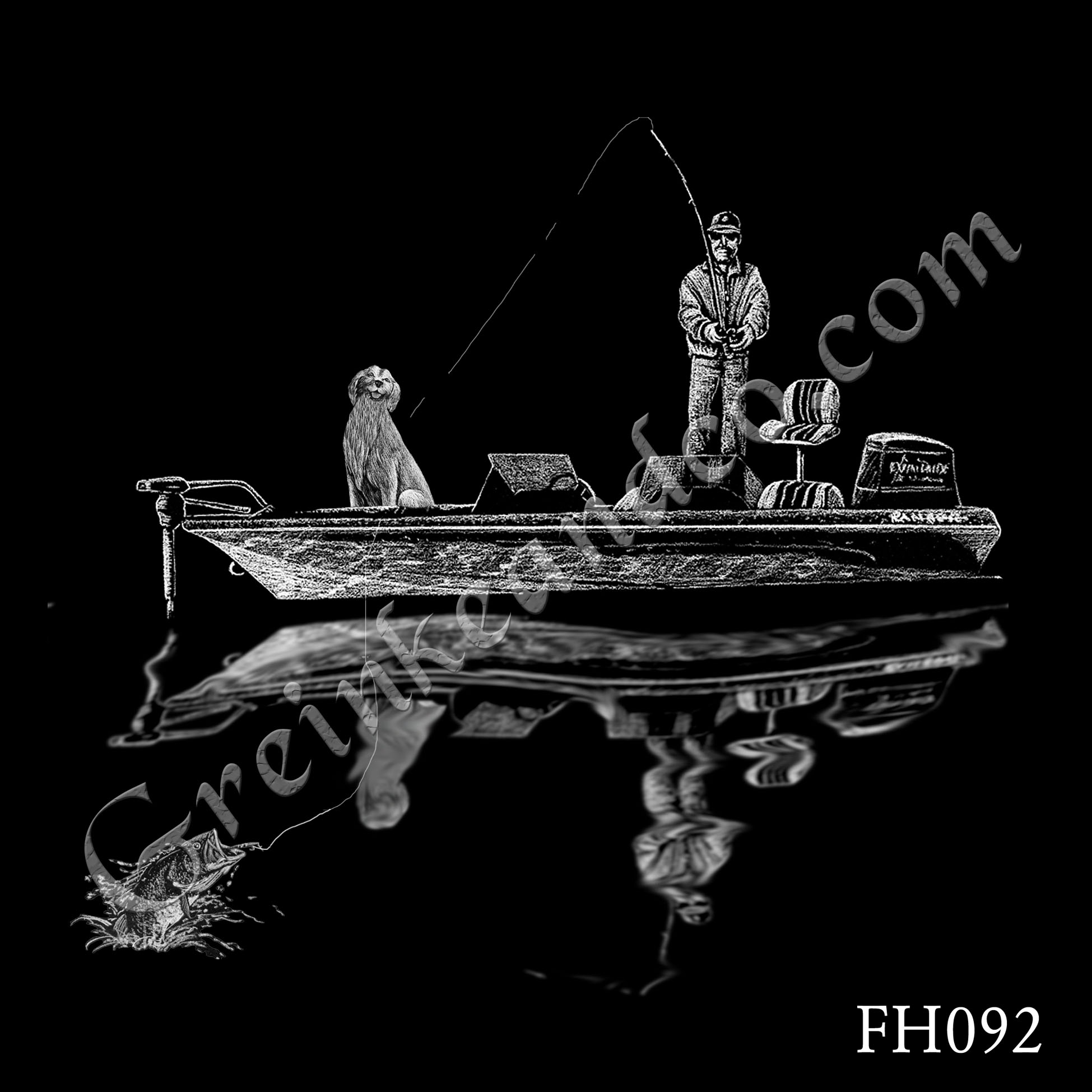 FH092 - Fisherman Boat Dog Fish