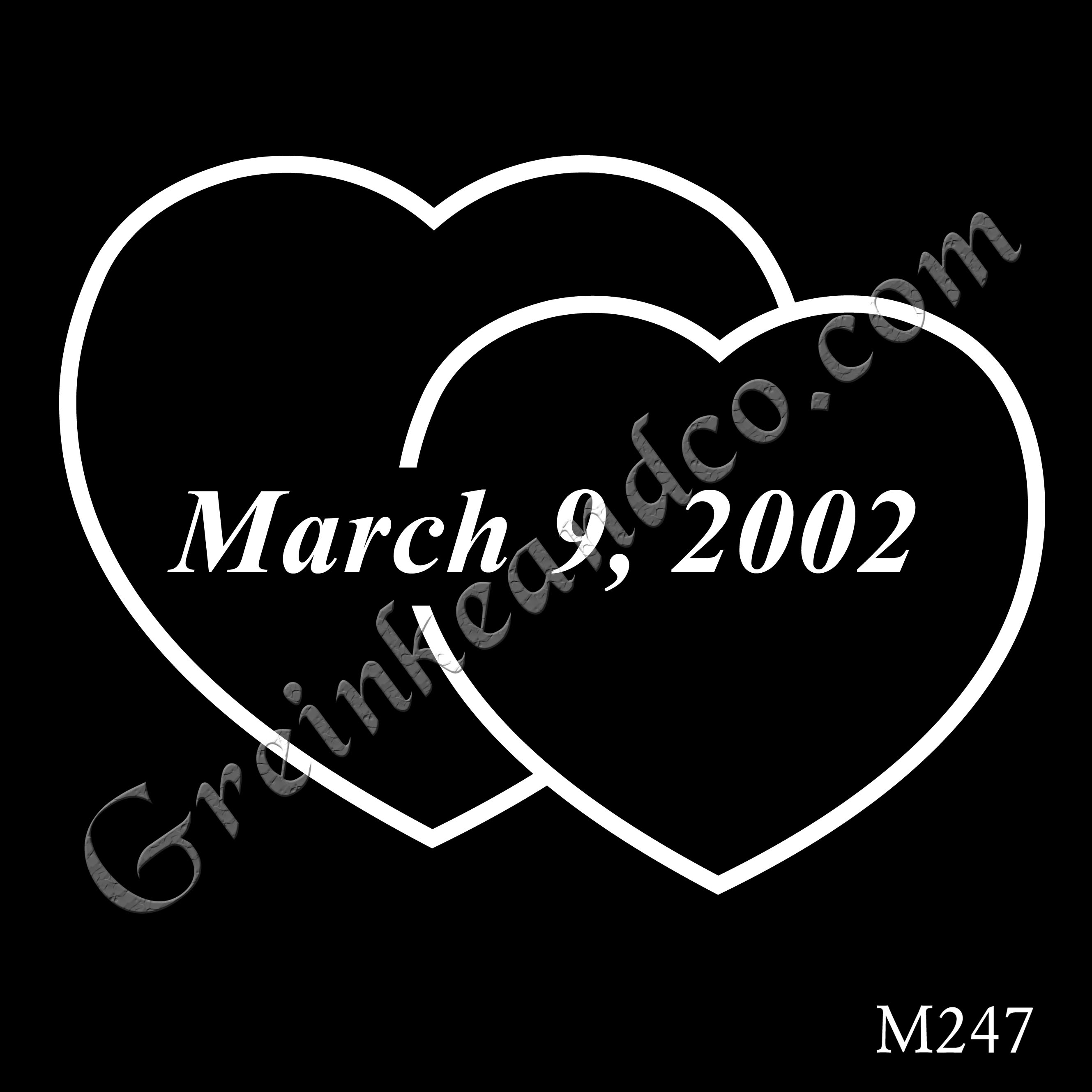 two heart outlines with date in the middle