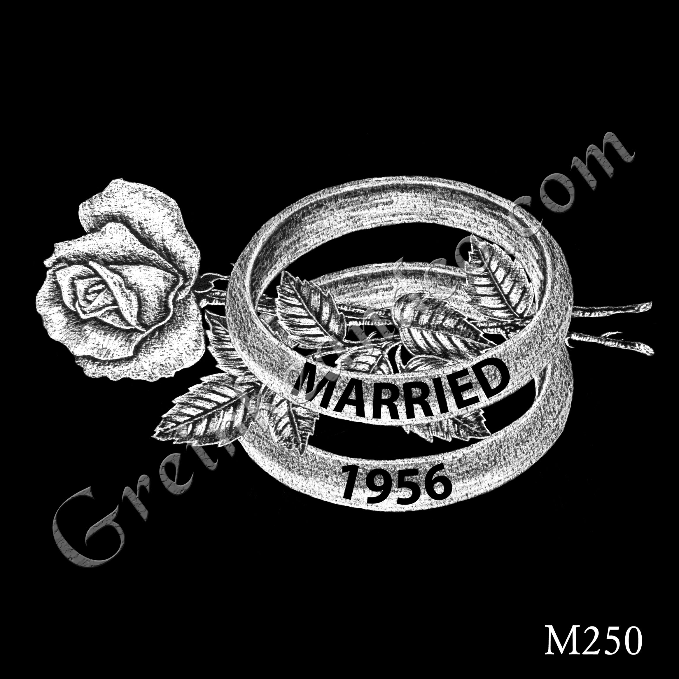 two parallel wedding bands, date, and single long-stem rose