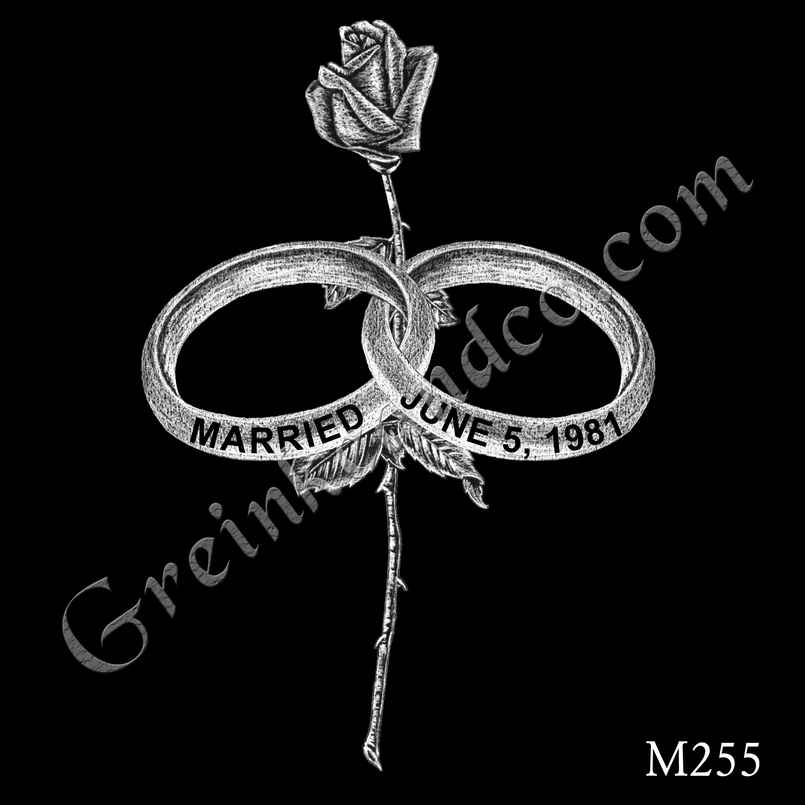 Interlocking horizontal wedding bands with dates on them; single long stem rose stands vertically between them