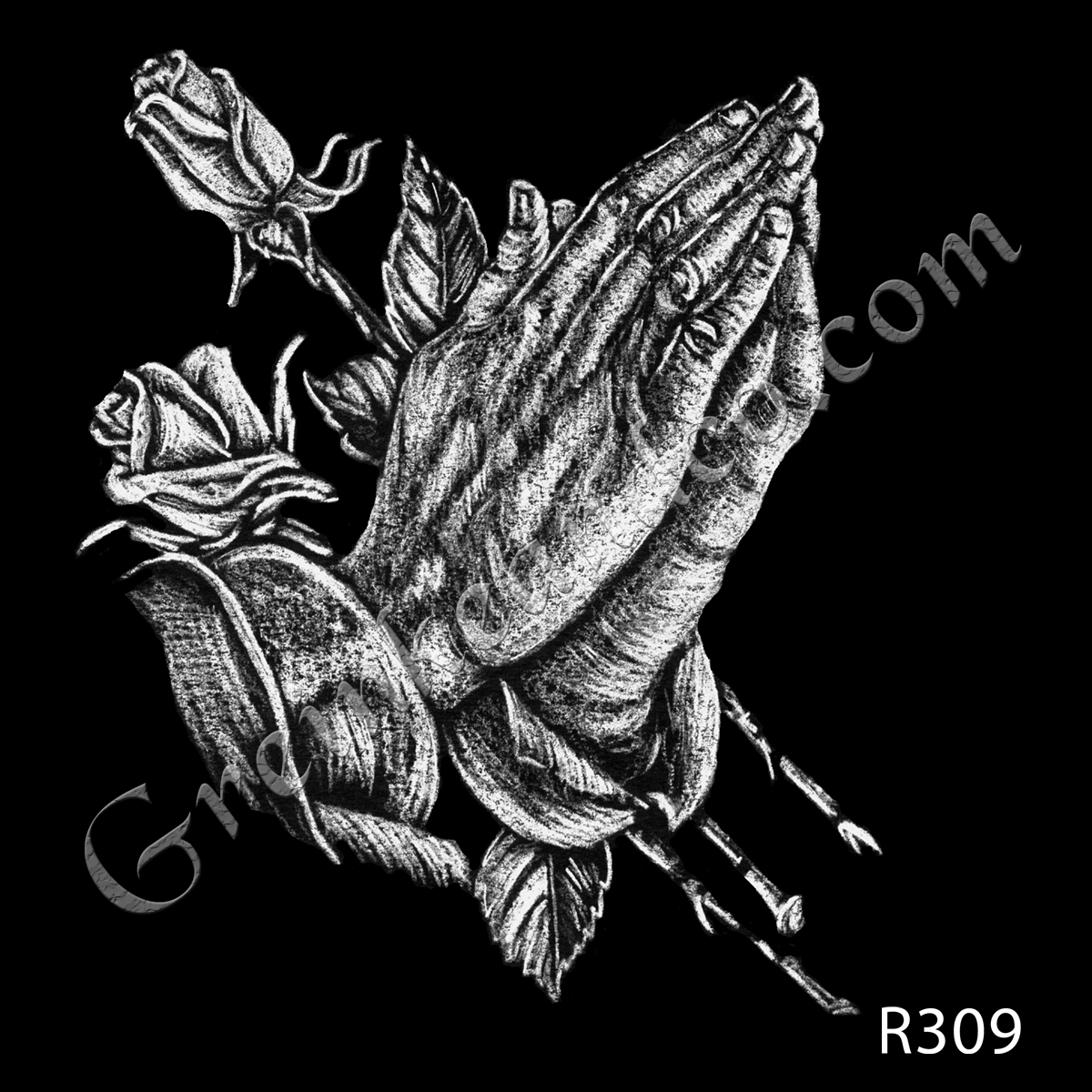 R309 - Praying Hands with Roses