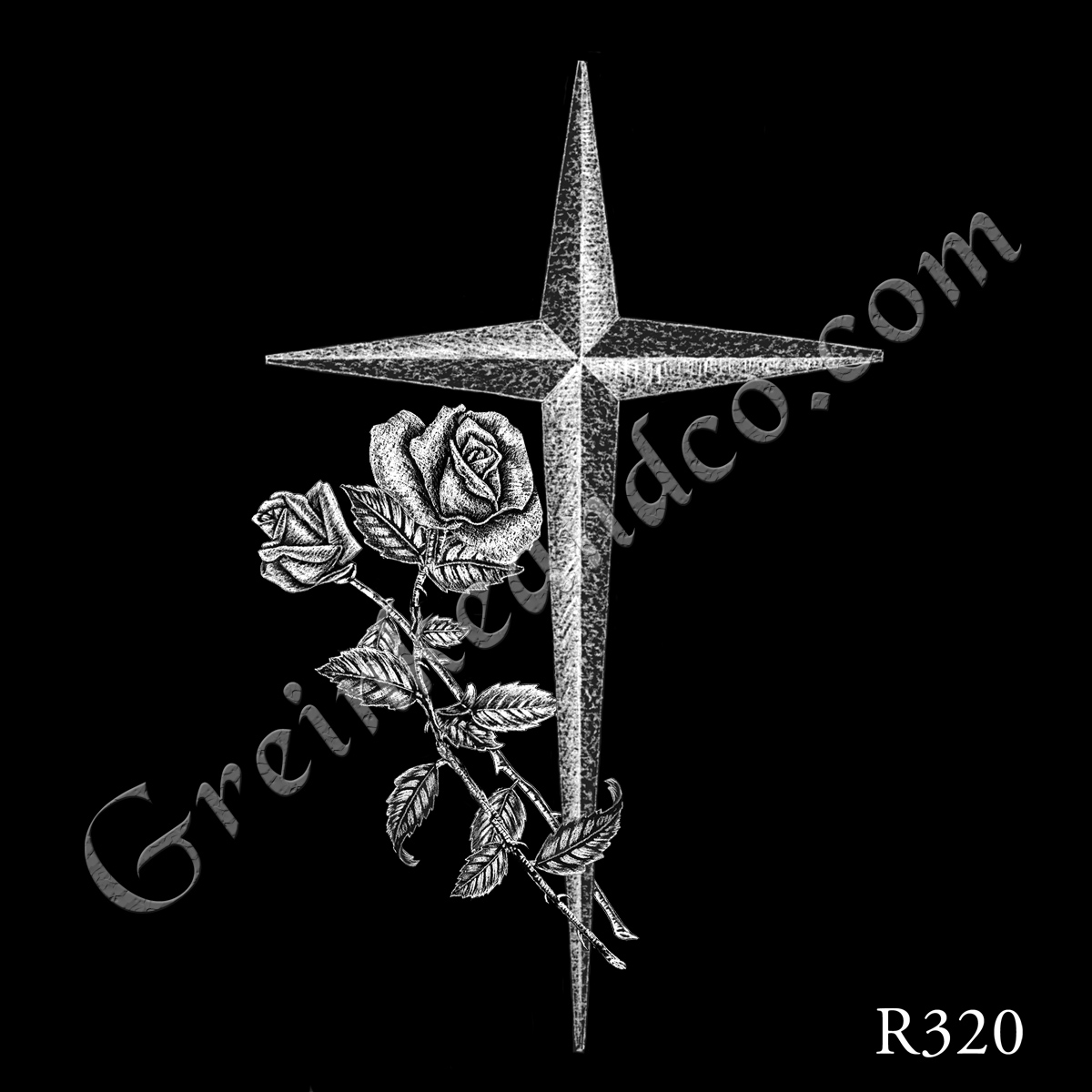 R320 - Pointed Cross & 2 Roses