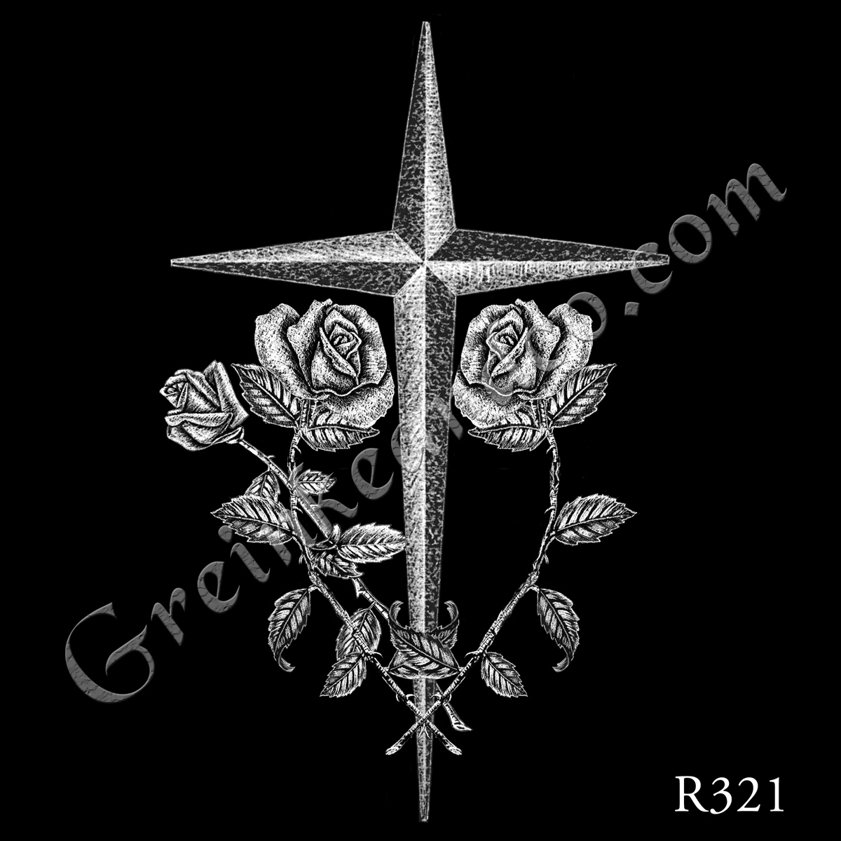 R321 - Pointed Cross & 3 Roses