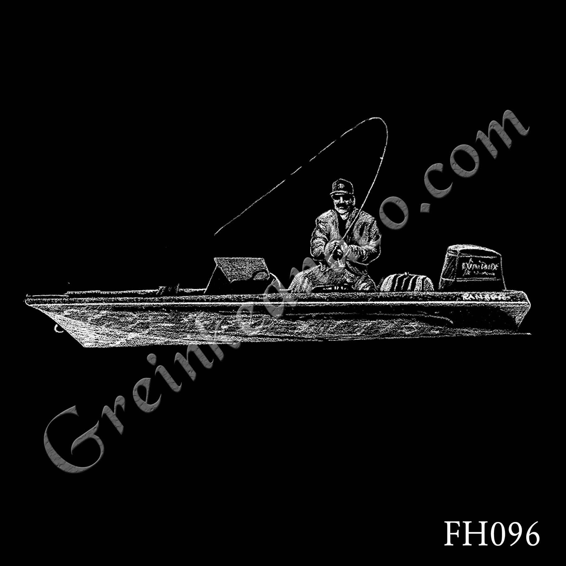 FH096 - Man Fishing in Boat