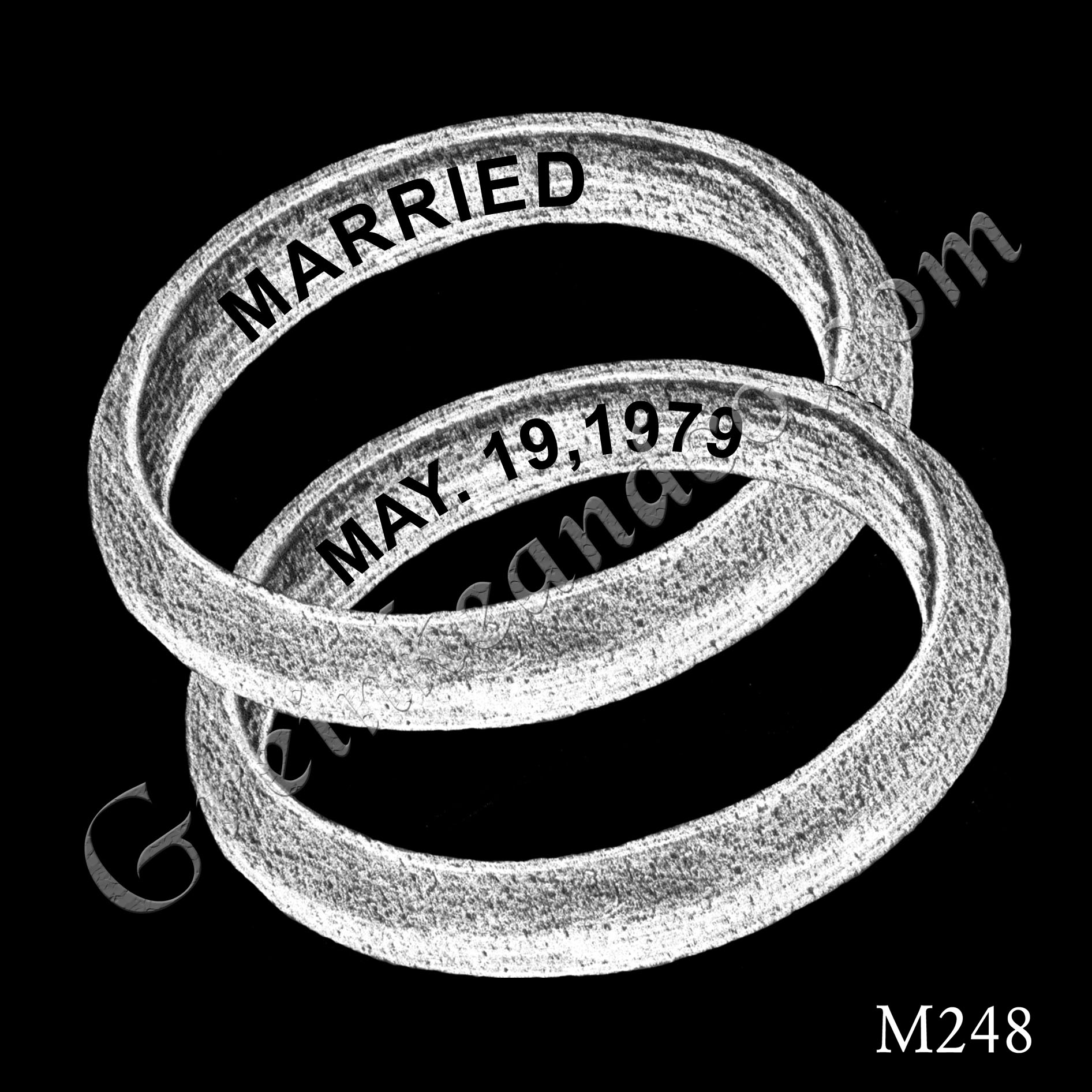 two interlocking wedding bands with date