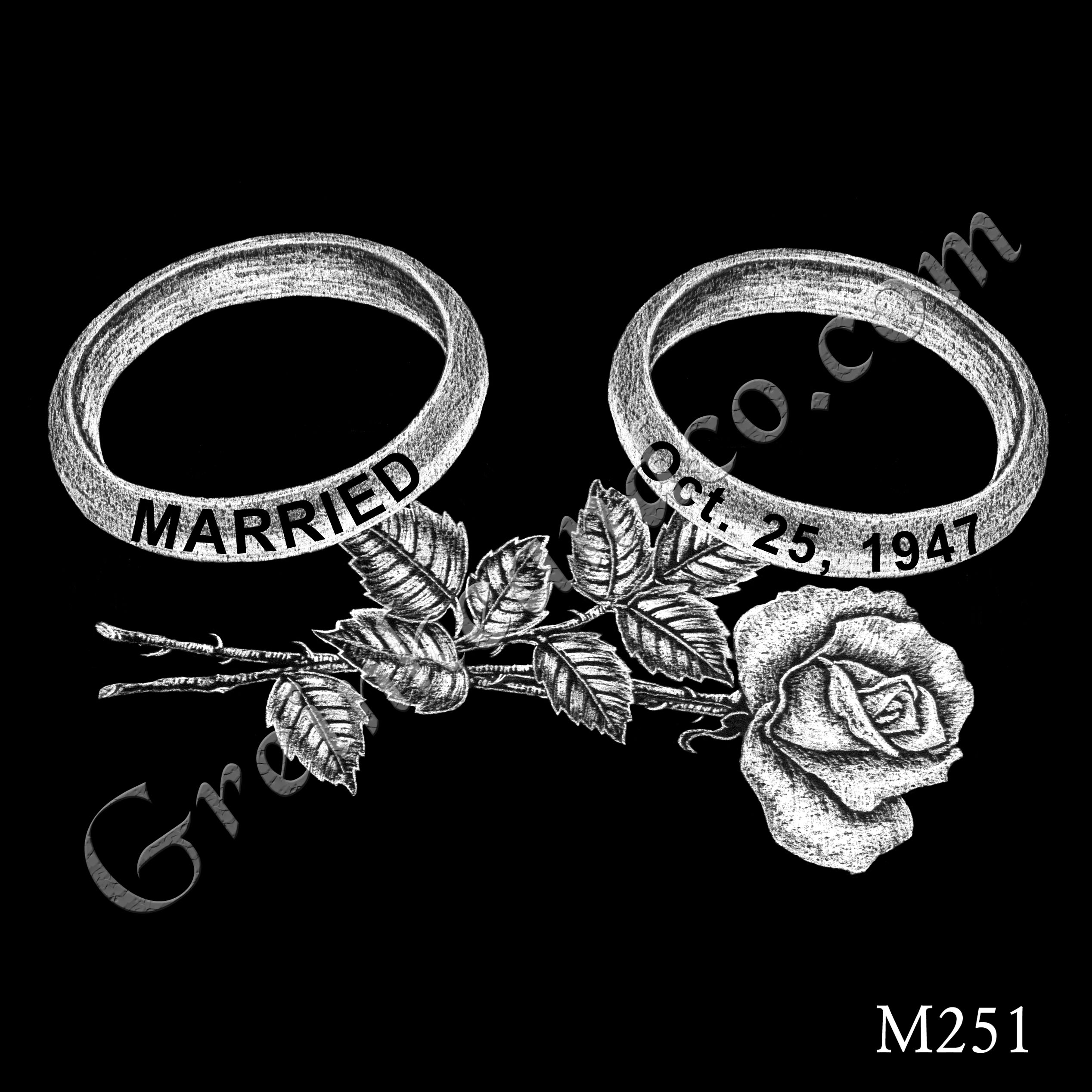 two wedding bands with dates printed on them, a single long-stem rose lays beneath them