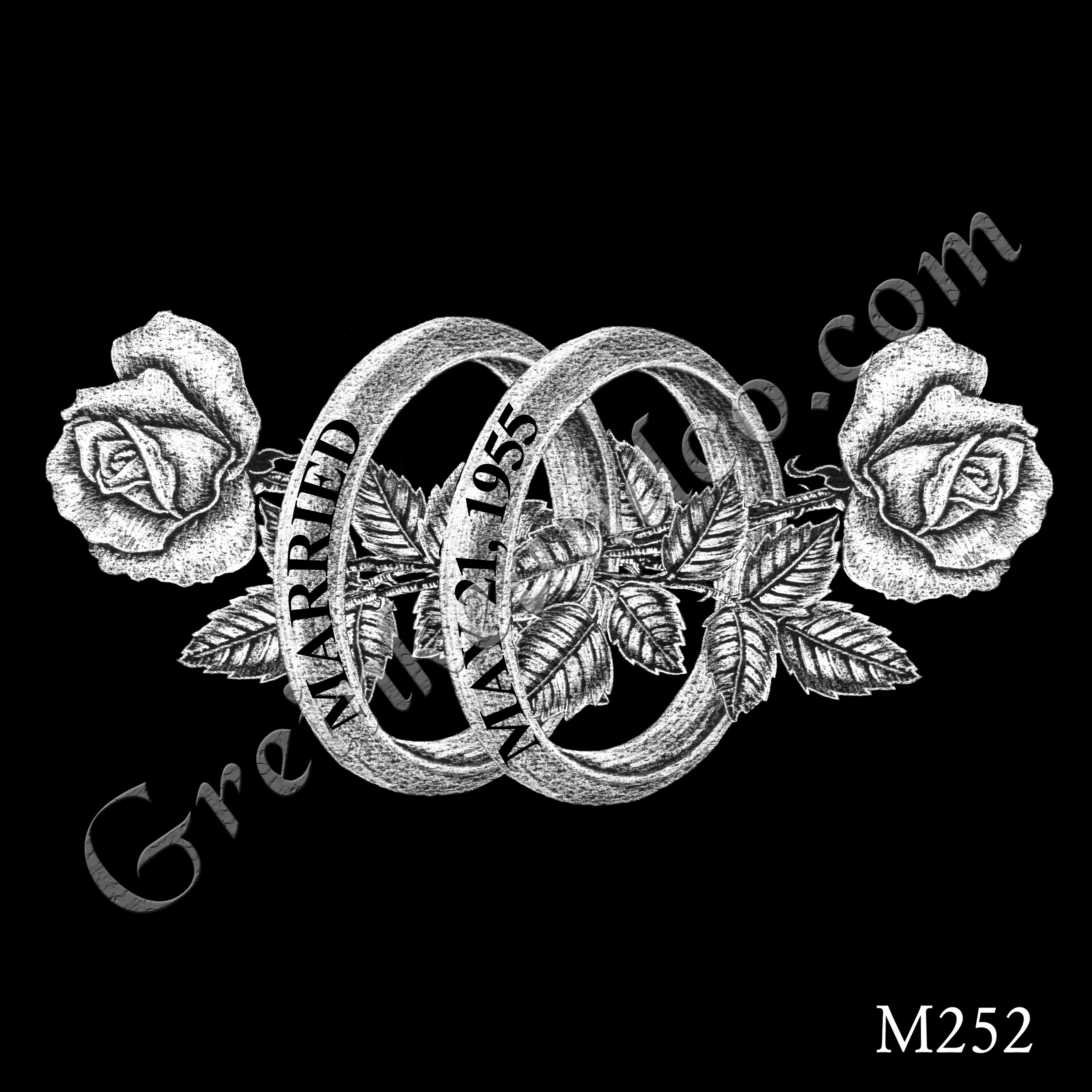 parallel vertical wedding bands with dates on them, two long stem roses horizontally pass through the centers of the rings