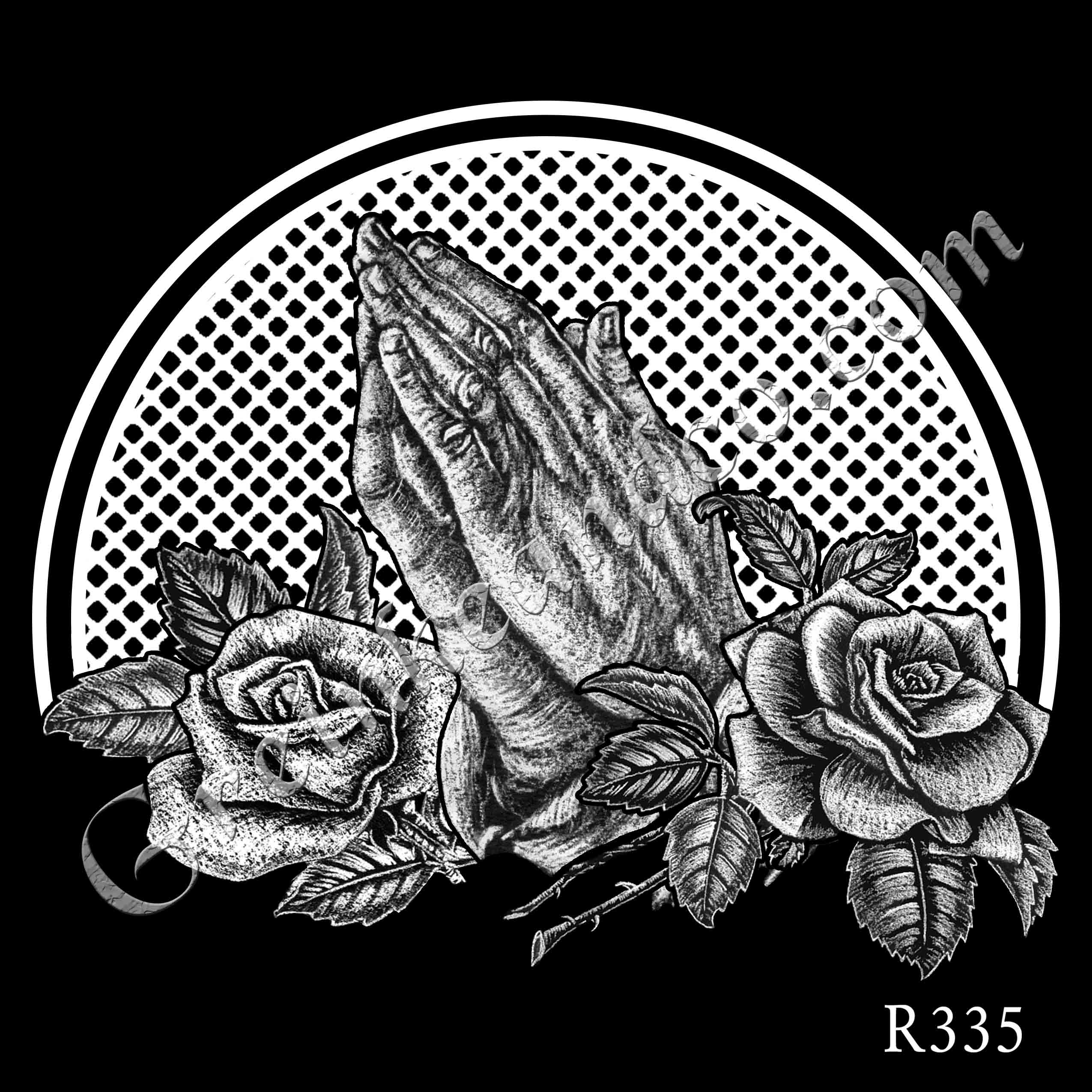 R335 - Praying Hands with Roses